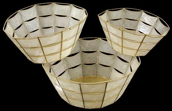 3 PC Capiz Oval Basket NN1-90  8/4/13