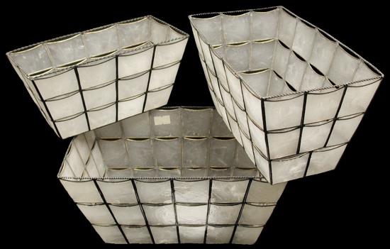 3 PC Capiz Rectangle Basket MM1-90 8/4/13