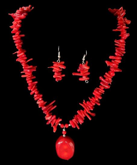 Red coral necklaces red coral necklace set crafted with coral branch nugget pendant and earrings mozeypictures Images