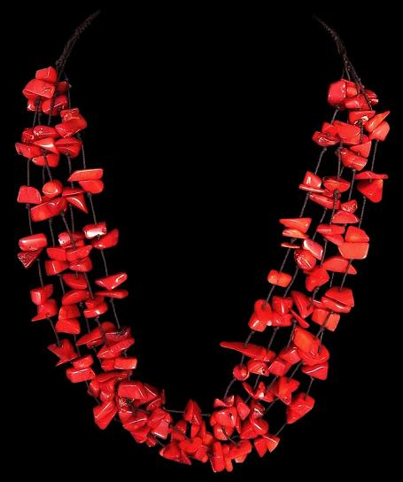 Red coral necklaces red coral necklace crafted with floating polished chips five rows mozeypictures Image collections