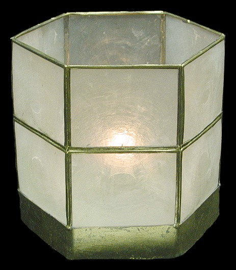 Capiz Hex Candle Holder