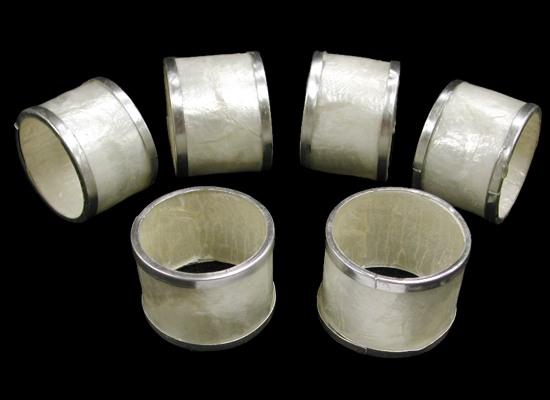 Capiz Napkin Ring with Silver Trim