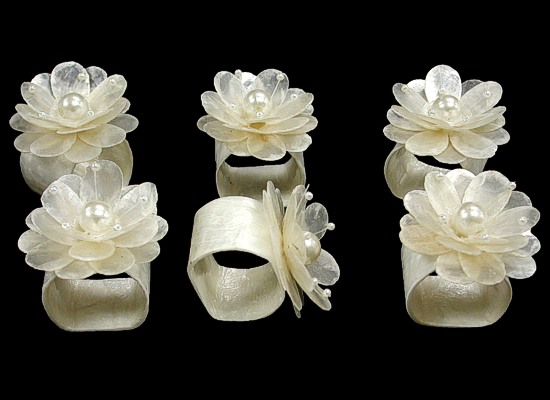 Capiz Napkin Ring w/Pearls