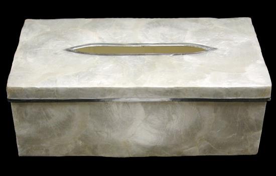 Capiz Silver Tissue Box K1-90