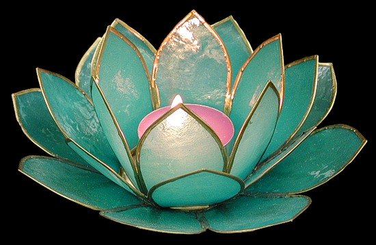 Turquoise Lotus Candle Holder